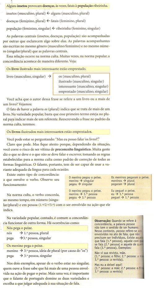 Página do livro didático com a polêmica do ensino da Variante Oral na Língua Portuguesa