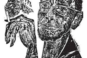 Um autoretrato em xilogravura de Hansen Bahia