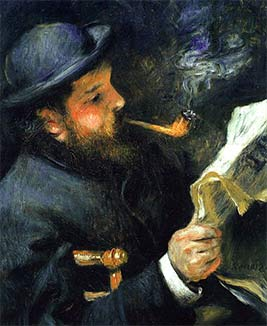 Monet Reading a Newspaper - Quadro de Auguste Rodin