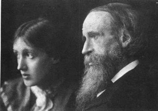 Virginia Woolf e seu pai, sir Leslie Stephen.