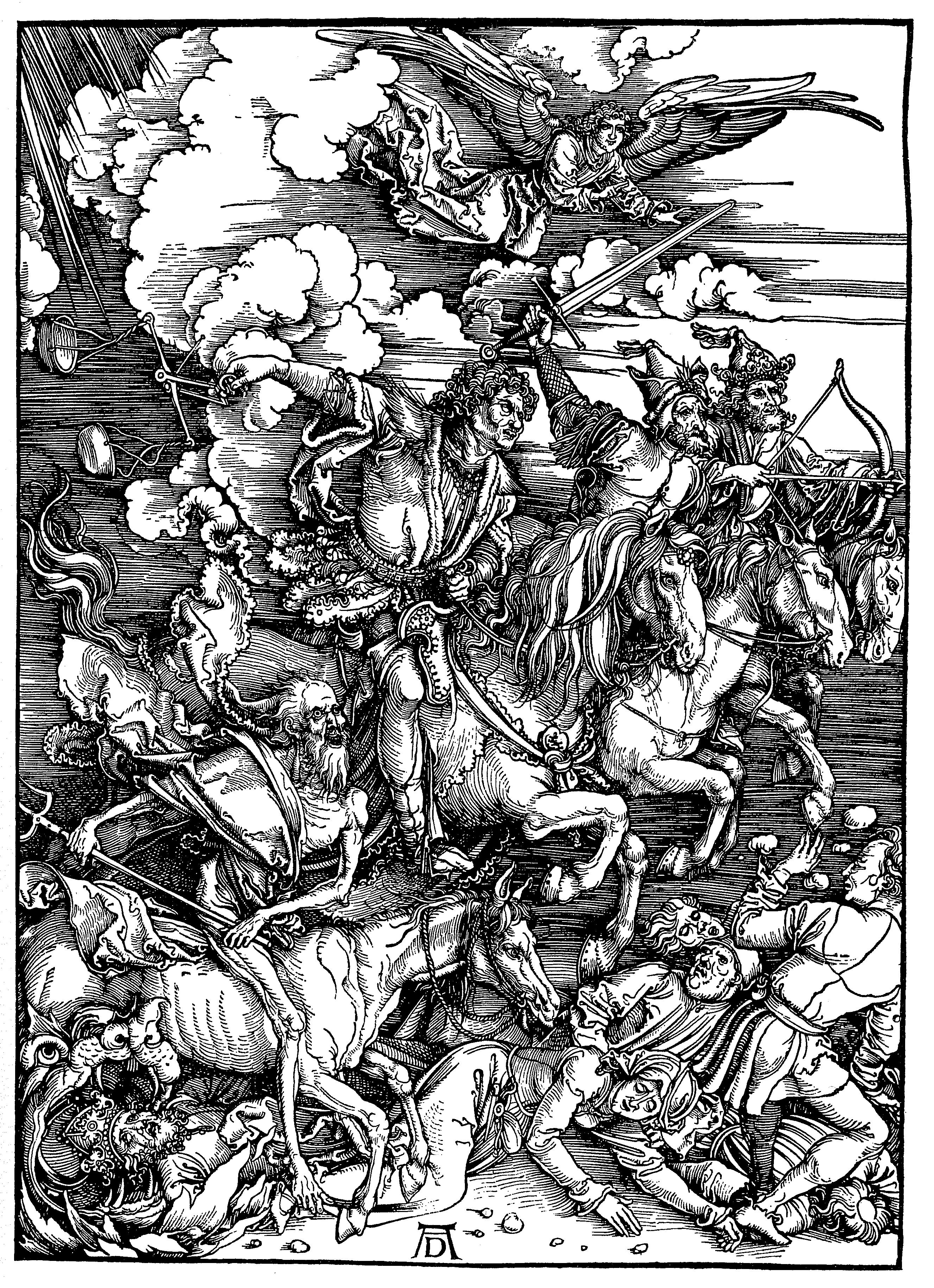 """Gravura de Albert Dürer, """"Quatro cavaleiros do Apocalipse""""."""