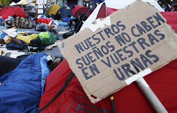 Fotografia que mostra uma das frases mais utilizadas durante o Movimiento 15M, também chamado Movimiento de los Indignados, na Espanha. [Divulgação]