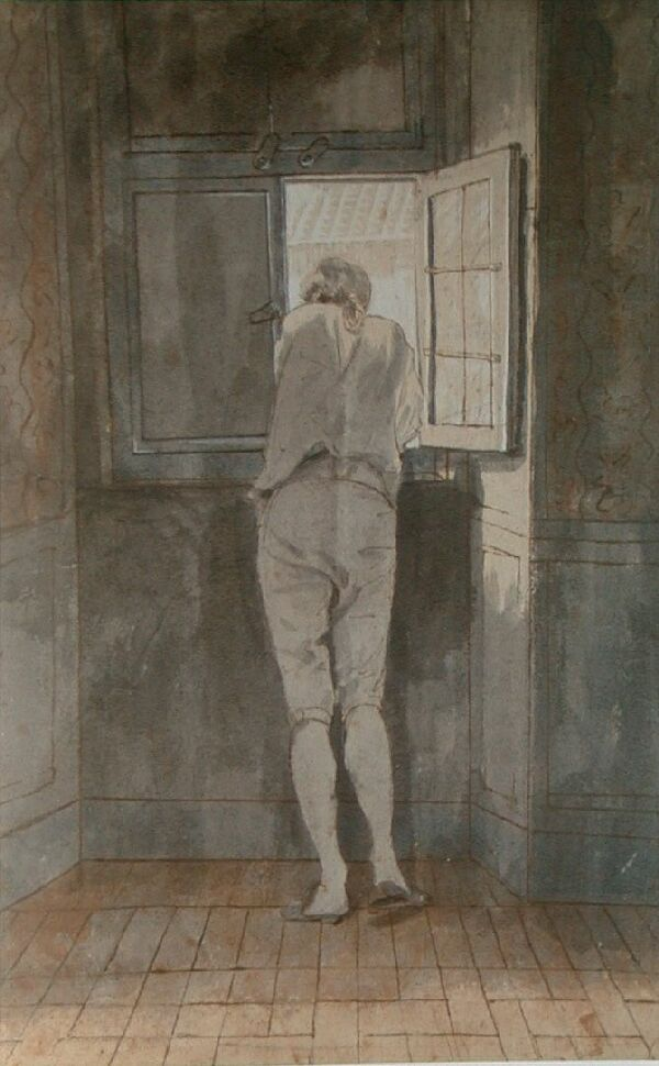 "Johann Heinrich Wilhelm Tischbein, ""Goethe à janela de sua casa romana"""